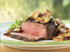 Tea-Rubbed Filet Mignon Steaks with Buttery Mushrooms