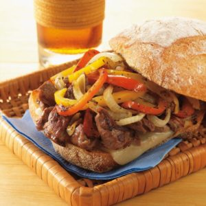 Philly-Style Steak Sandwiches with Grilled Onions and Provolone