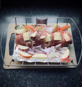 Prepped pork loin ready for smoker